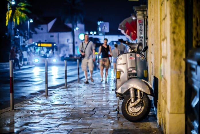 vespa, street, night