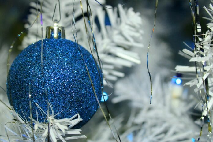 christmass decoration, blue ball, christmas