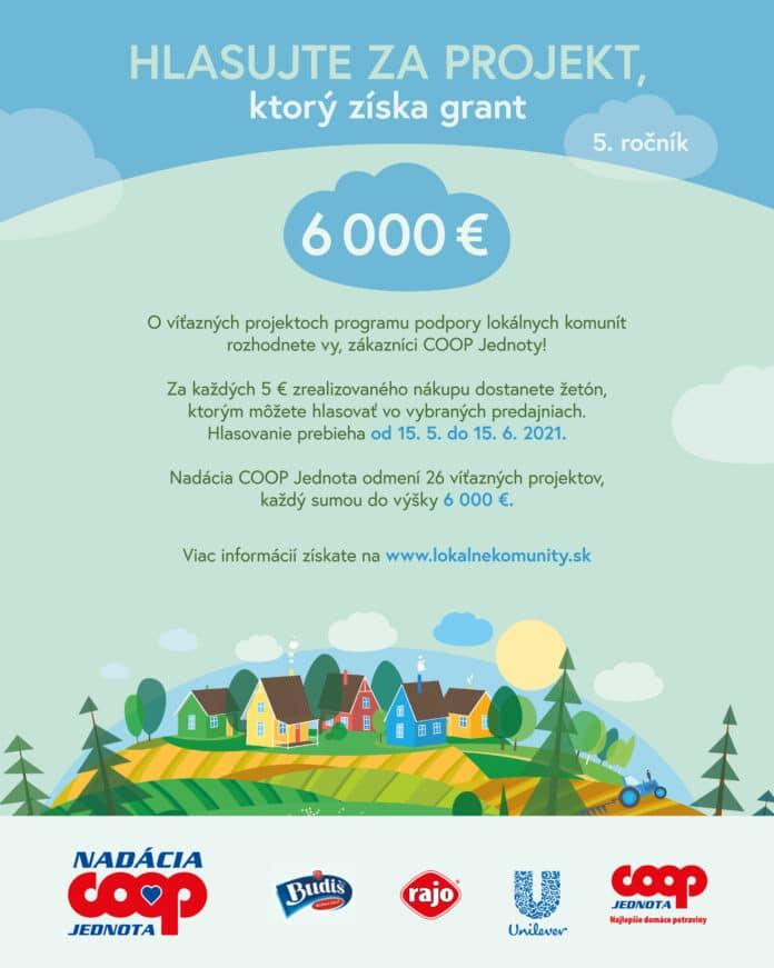 Nadácia COOP Jednota rozdá obciam a mestám 156 000 eur, o víťazoch rozhodne verejnosť